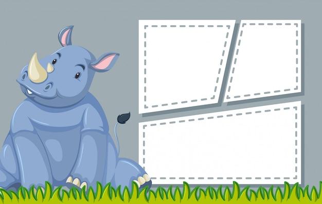 Rhinoceros en plantilla de nota