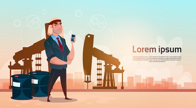 Rich arab business man oil trade pumpjack rig platform concepto de riqueza negro