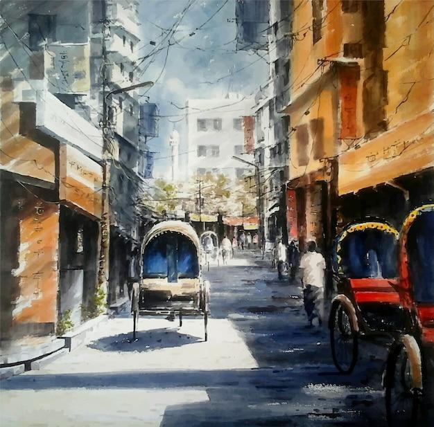 Rickshaw de carretera de la ciudad de pinturas de acuarela con paisaje de luz solar