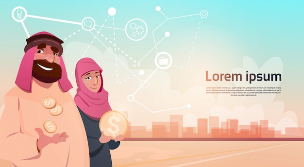 Rico empresario árabe con esposa extracción de petróleo éxito empresarial