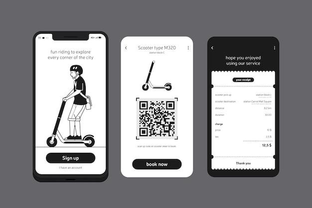 Ride a scooter aplicación para teléfono móvil