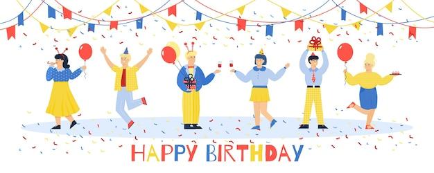 Riendo a gente bailando en la fiesta de cumpleaños
