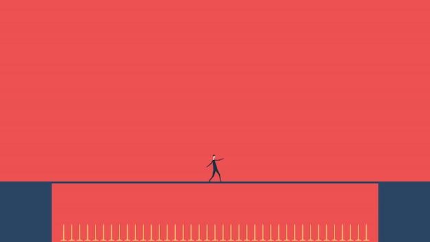 Riesgo del negocio. empresario caminando sobre la cuerda floja espigas peligrosas. camino al éxito. obstáculo en carretera. diseño plano. finanzas empresariales concepto exitoso