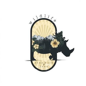 Rinoceronte y flores en vector de doble exposición para su diseño