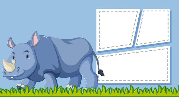 Un rinoceronte en nota en blanco.