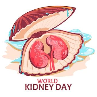 Riñón en las conchas de almejas para la ilustración de vector de concepto del día mundial del riñón