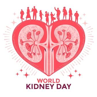 Riñón en el corazón con personas para la ilustración de vector de concepto del día mundial del riñón