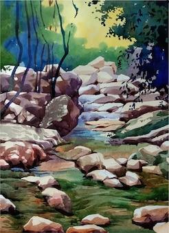 El río en el bosque dibujado a mano ilustración
