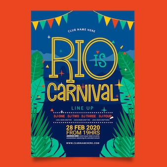 Rio de janeiro cartel de fiesta de carnaval brasileño dibujado a mano