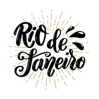 Rio de janeiro. frase de letras dibujadas a mano. ilustración