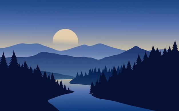Río en paisaje de bosque de pinos con montaña