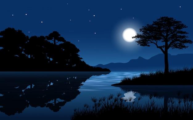 Río en paisaje forestal con luna y estrellas