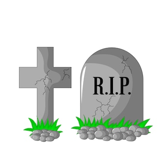 Rip de lápida y cruz con piedras y hierba aislado