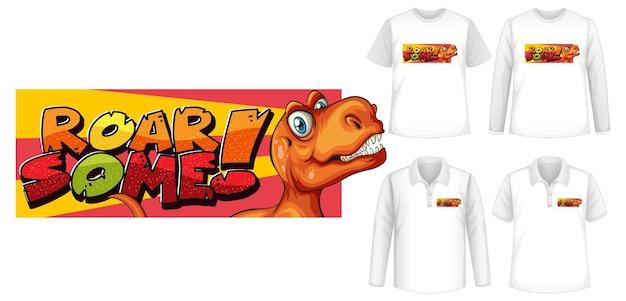 Roar some font y el logotipo del personaje de dibujos animados de dinosaurios con diferentes tipos de camisetas