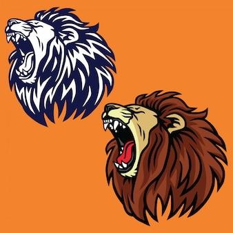 Roaring lion set logo vector design