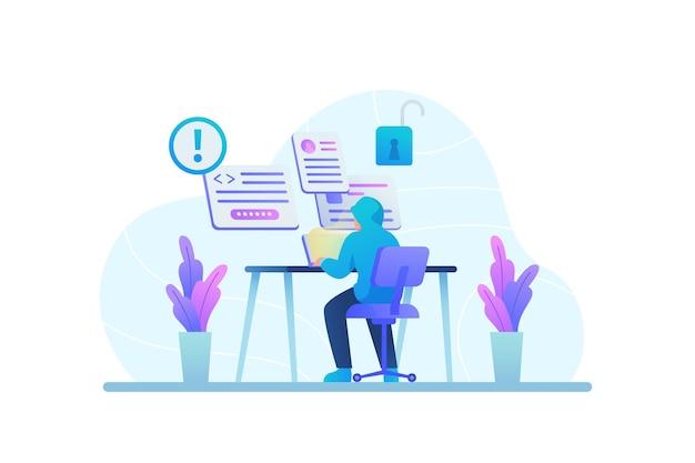 Robar el concepto de datos con el hombre en el escritorio