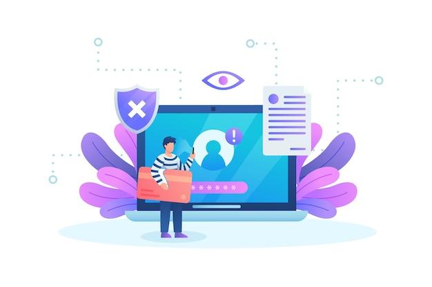Robar concepto de datos con laptop
