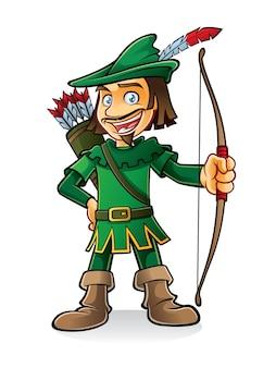 Robin hood se puso de pie sonriendo y sosteniendo un arco.