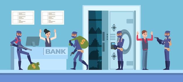 Robo de un banco. escena de dibujos animados con delincuentes con máscara y ropa oscura robando dinero de la oficina del banco.