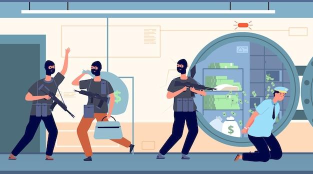 Robo de un banco. ladrones bancarios con dinero.