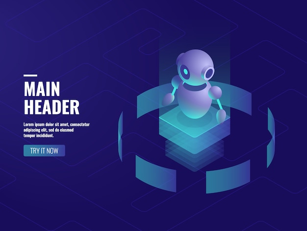 Robot ai inteligencia artificial, consulta y soporte en línea, tecnología informática.