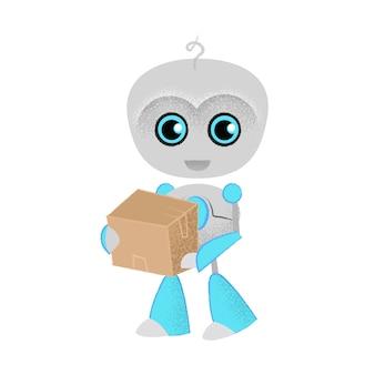 Robot alegre que sostiene el paquete. entrega, correo, envío.