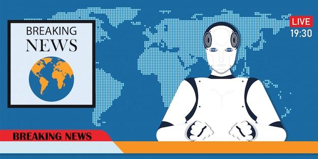 Robot android rompiendo noticias anclas o ciber noticiero.