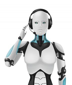 Robot androide composición realista en 3d con agente de soporte artificial máquina antropomorfa cibernética con apariencia femenina