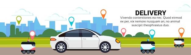 Robot autoconducción entrega rápida mercancías camino camino navegación destino geoetiqueta paisaje urbano ciudad coche