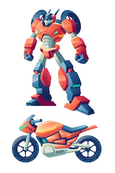 Robot de batalla rojo capaz de transformarse en motocicleta de carreras, caricatura de bicicleta deportiva