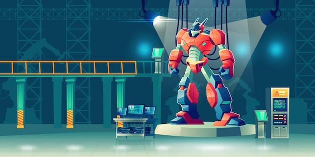 Robot de batalla transformador en laboratorio de ciencias.