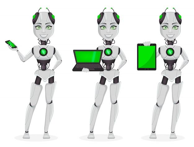 Robot, bot hembra, conjunto de tres poses.