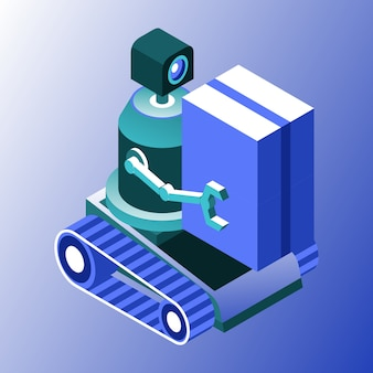 Robot de carga o transportista utilizando estilo degradado