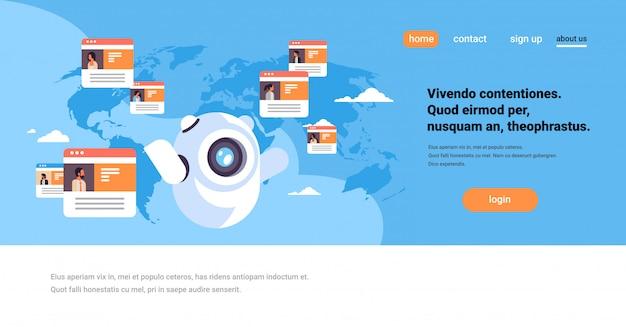 Robot chat bot en línea messenger concepto de aplicación de comunicación de personas globales sobre la página de inicio del mapa mundial