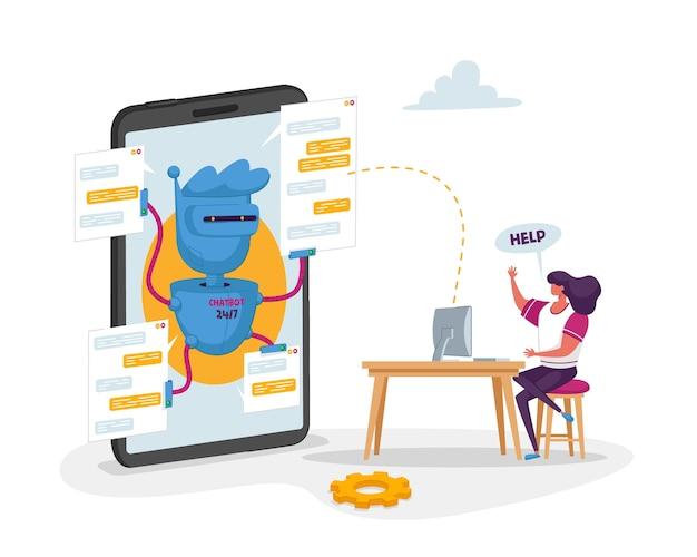 Robot chatbot en un enorme teléfono móvil listo para ayudar al personaje del cliente con una computadora portátil