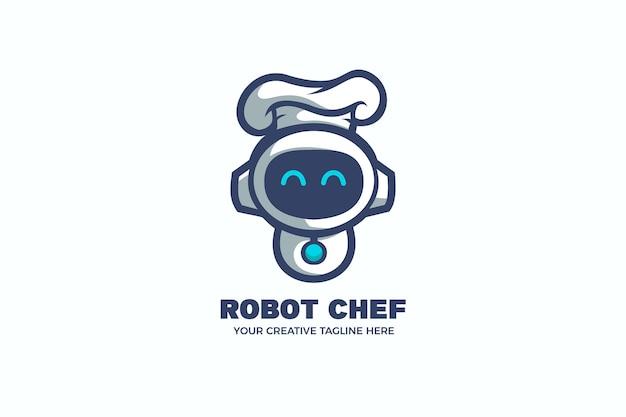 Robot chef cocinando comida plantilla de logotipo de mascota de dibujos animados