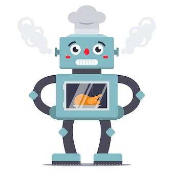 Robot cocinando pollo en el horno ilustración