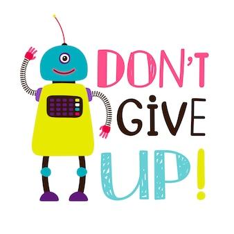 Robot colorido con mensaje