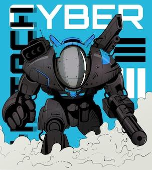 Robot de combate militar del futuro al estilo cyberpunk
