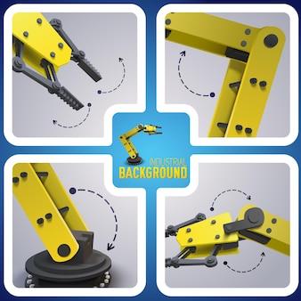 Robot en la composición de fábrica y cuatro iconos cuadrados con indicadores de cómo funciona el robot