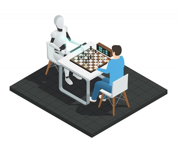 Robot de composición isométrica de inteligencia artificial coloreada jugando ajedrez con una ilustración de hombre