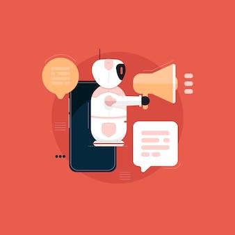 Robot con concepto de marketing de bot de chat