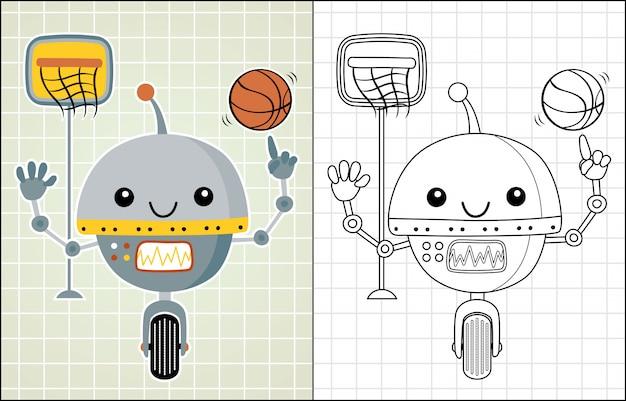 Robot de dibujos animados jugando baloncesto