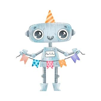 Robot de dibujos animados lindo cumpleaños fiesta gris aislado