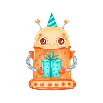 Robot de dibujos animados lindo cumpleaños fiesta naranja aislado