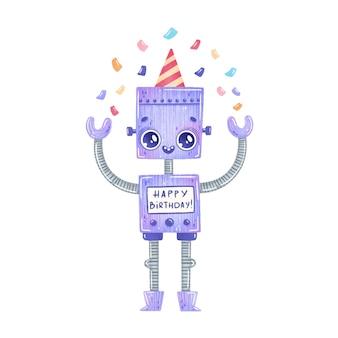 Robot de dibujos animados lindo cumpleaños fiesta púrpura aislado