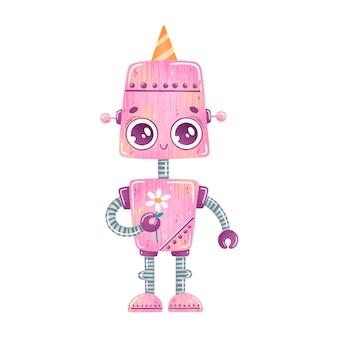 Robot de dibujos animados lindo cumpleaños fiesta rosa aislado