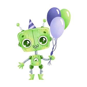 Robot de dibujos animados lindo cumpleaños fiesta verde aislado