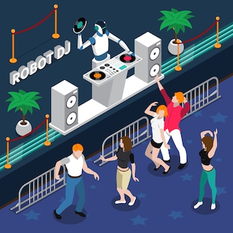 Robot dj y gente bailando en la fiesta
