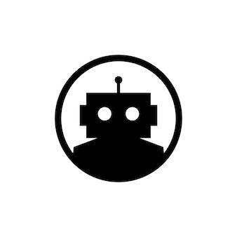 Robot emblema redondo cyborg logo automático vector icono ilustración